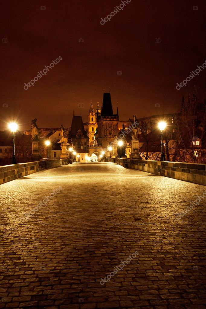 A beautiful night view of the Charles Bridge in Prague  Stock Photo #6113756