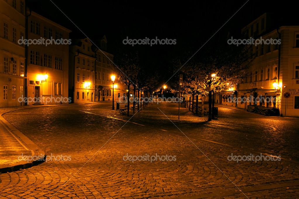 A beautiful night view of the street in Prague — Stock Photo #6113765