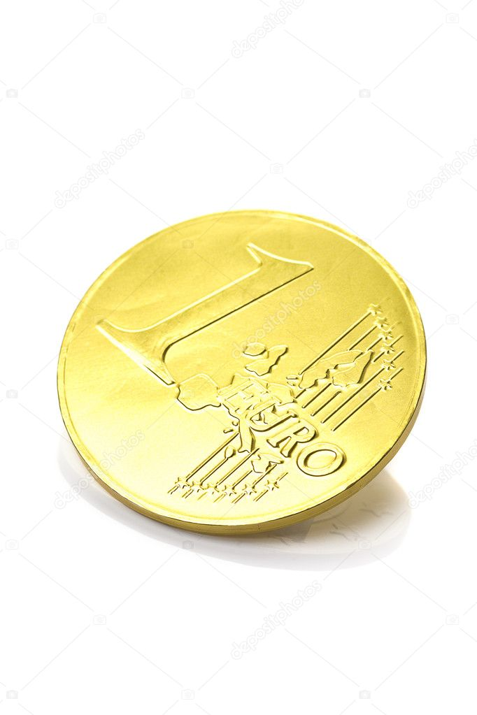 Gold coin one euro isolated on white — Stock Photo #6116848