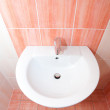 Interior bathroom with pink tile in the house — Stock Photo