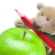Teddy bear, apple and colored pencils isolated on white — Stock Photo #6132618