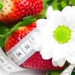 Background of red big juicy ripe strawberry and flower — Stock Photo #6138173
