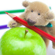 Teddy bear, apple and colored pencils isolated on white — Stock Photo