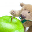 Teddy bear and  apple  isolated on white — 图库照片