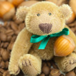 Teddy bear with a bow, coffee beans and nuts — Stock Photo #6142497