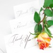 Yellow red rose and a card with the words thank you isolated on — Stock Photo #6142849