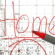 Stock Photo: Background of architectural drawings and marker