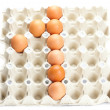 Eggs as the number one isolated on white — Stock Photo