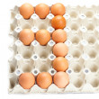 Eggs as the number three  isolated on white — Stock Photo