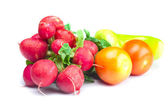 Radish, tomato and pepper isolated on white — Stok fotoğraf