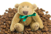 Teddy bear with a bow and coffee beans — Stock Photo