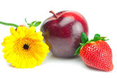 Big juicy red ripe strawberries,flower and apple isolated on wh — Stock Photo