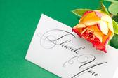 Rose e carta firmato grazie su sfondo verde — Foto Stock