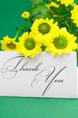 Yellow daisy and card signed thank you on green background — Stock Photo