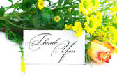 Yellow red rose ,yellow field flower and a card with the words — Stock Photo