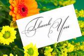 黄色のデイジー、ガーベラ、カードに署名グリーンれたらにあなたに感謝 — ストック写真