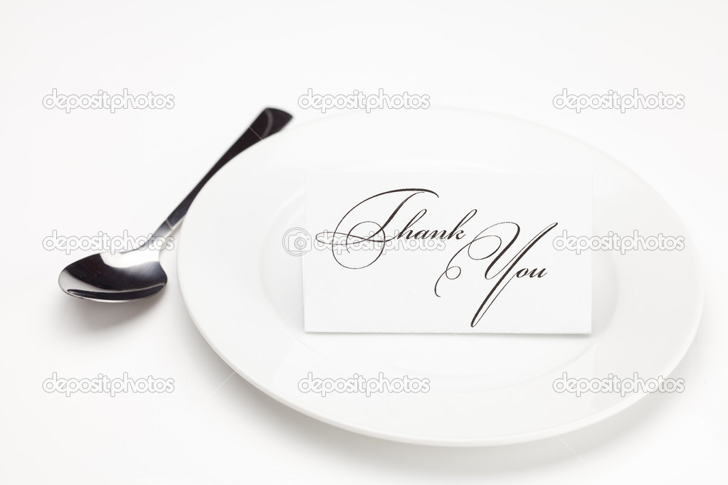 Plate with card signed thank you isolated on white — Stock Photo #6143917