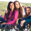 Stock Photo: Three young beautiful woman sitting in a field on the sky backg