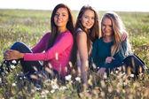 三个年轻美丽的女人坐在一个字段上天空黑色 — 图库照片