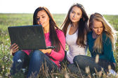 Three young beautiful woman with a laptop sitting in the field o — Stock Photo