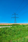 Meadow and power line against the blue sky — Stock Photo