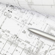 Background of architectural drawing ahd pen — Stock Photo