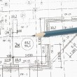 Stock Photo: Background of architectural drawing ahd pencil