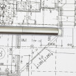 Stock Photo: Background of architectural drawing ahd pen