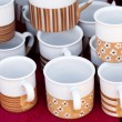 Ceramic cups and pitchers at the fair — Foto Stock