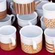 Ceramic cups and pitchers at the fair — Stock Photo