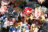 Background of colorful ceramic flowers — Stock Photo