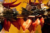 Verzameling van gedroogde vruchten, groenten en kruiderijen en harten — Stockfoto
