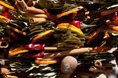 Collection of dried fruit, vegetables and spices at the fair — Stock Photo