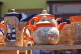 Keramik tekannor på mässan — Stockfoto