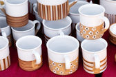 Ceramic cups and pitchers at the fair — Stok fotoğraf