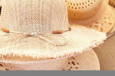 Background of a straw hat at the fair — Стоковое фото