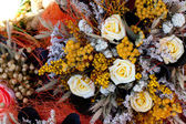 Background of the dried flowers at the fair — Stock Photo