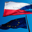Flags of the European Union and the Czech Republic against the b — Stock Photo