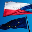 Flags of the European Union and the Czech Republic against the b — Stock Photo #6179957