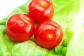 Tomato,peas and lettuce on a plate isolated on white — Stock Photo