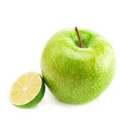 Apple and lime isolated on white — Stock fotografie