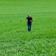 Young man in sunglasses running in green field — Stock Photo