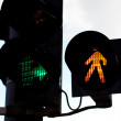 Traffic lights against the blue sky — Stock Photo