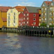 Trondheim old house over a river — Stock Photo