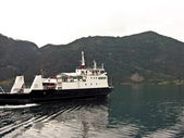 Nordic ferry in fjord — Stock Photo