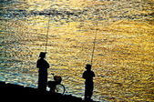 Fisherman silhouette on shoreline — 图库照片