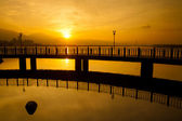 Tamsui Sunrise the new Taipei city, Taiwan — Stock Photo