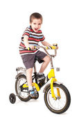 Screaming little boy on bike — Stock Photo