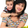 Stock Photo: Mother and son portrait with flowers