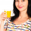 Portrait of woman with orange juice glass — Stock Photo